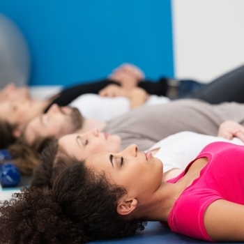 Meditation Class Practicing Breathin